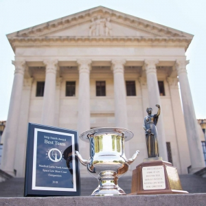 Pictured are LSU Law Center national championship trophies from the 2018-2019 academic year.