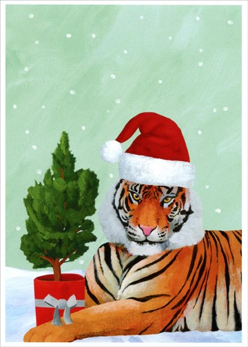 painting of a tiger with a Santa hat and a small tree