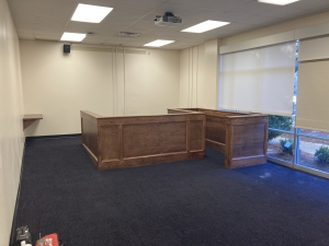 The new courtroom in Room 107