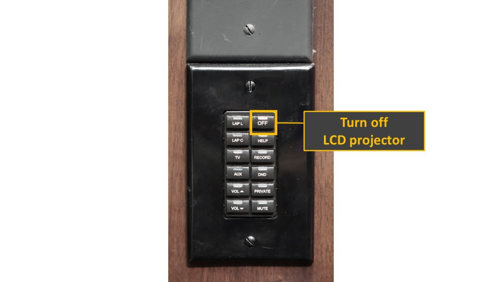Auditorium - turn off LCD projector