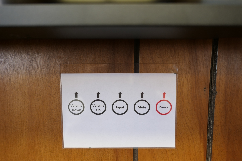 LCD monitor controls on Group Study Room wall.