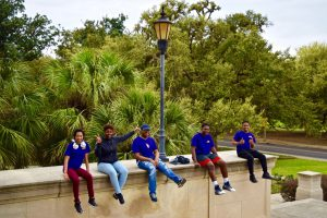 Students enjoying outdoors at LSU Law Center