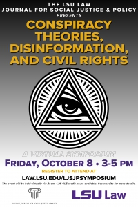 Conspiracy Theories, Disinformation, and Civil Rights Symposium Flier