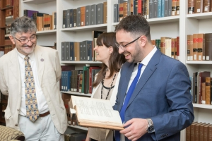 Professor Moreteau with two lawyers from Argentina in the Rare Book Room