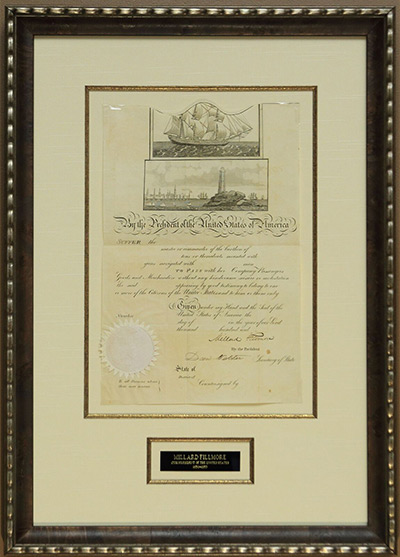Millard Fillmore Mediterranean Ship's Passport Never issued