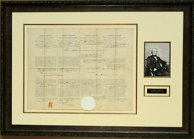 Andrew Johnson Multi-language Sea Letter Issued December 3, 1868