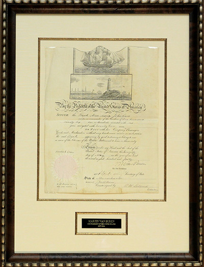 Martin Van Buren Mediterranean Ship's Passport Issued May 12, 1840