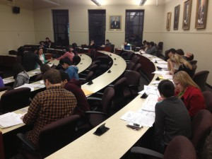 Students work with clients one-on-one in an LSU Law classroom