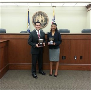 Ben Aguiñaga and Kiara Gradney, winners of the 2013 LSU Law Center Opening Statement Competition
