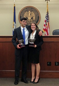John Richards and Dani Borel, winners of the Fall 2013 Ira S. Flory Trial Competition