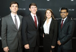 LSU Law Center's National Pretrial Competition Team: Matthew Hamilton, Doran Drummond, Danielle Borel and Sikandar Mehr