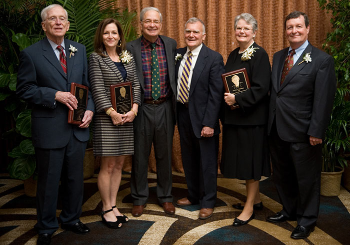 "Left to Right:  Richard F. ""Dick"" Knight ('58); Anne-Gwin Duval who accepted the award on behalf of her father, the Honorable Stanwood R. Duval, Jr. ('66); LSU Law Center Chancellor Jack M. Weiss, dressed in his ""Cheney Joseph finest""; Vice Chancellor for Academic Affairs Cheney C. Joseph, Jr.('69); Marilyn C. Maloney ('75); and Michael A. Patterson ('71) at the LSU Law Center 2013 Distinguished Alumnus and Distinguished Achievement Awards Dinner on November 1 at the Hilton Baton Rouge Capitol Center."