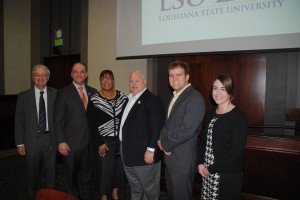 L to R: Chancellor Jack Weiss, Representative John Bel Edwards ('99), Representative Patricia Smith, Commissioner of Agriculture & Forestry Mike Strain, SBA Vice President Jeffrey Wale and SBA President Brooksie Bonvillain at the 2014 SBA Louisiana Legislative Preview.