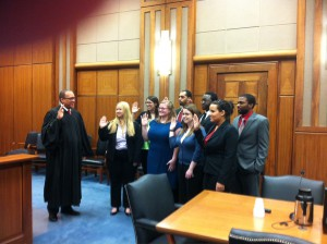Students enrolled in the LSU Law Parole and Prisoner Re-Entry Clinic were sworn in by Chief Judge Brian A. Jackson of the United States District Court of the Middle District of Louisiana on February 5, 2014.