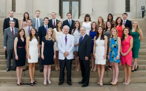 Students and faculty pose on the front steps of the LSU Law Center