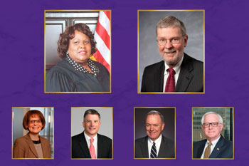 Headshots of two women and four men on a purple background