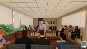 A rendering of the courtroom addition to Room 107