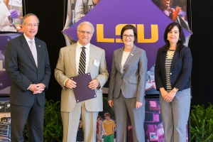 "LSU Law Professor and Chancellor Emeritus John Costonis, second from left, was presented with the 2018 H.M. ""Hub"" Cotton Award winner for Faculty Excellence at a ceremony May 2 at the Lod Cook Conference Center."