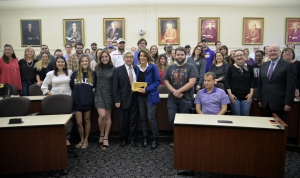 Professor Paul Baier with students, his wife, Barabara, and LSU faculty members at his final class.