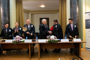 LSU Law Professor Emeritus Alain Levasseur is honored with the title of Doctor Honoris Causa at a special event at the University of Bucharest in October 2019.