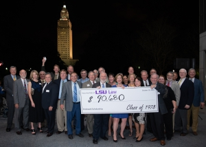 At their 40th class reunion in October 2018, members of the LSU Law Class of 1978 posed with a check for their endowed scholarship. The class raised the final dollars in the weeks following the reunion celebration, reaching their goal of $100,000.