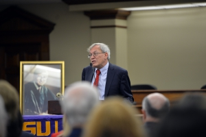 Berkeley School of Law Dean Erwin Chemerinsky delivers the 2020 Rubin Lecture in the Robinson Courtroom at LSU Law.