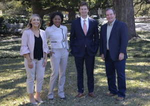 LSU Law students, from left to right, Taylor B. Ashworth, Destiny Manning and Shawn Waldron, with LSU Law Professor Keith Hall.