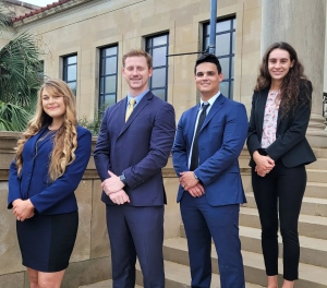The LSU Law National Pretrial Competition team members are (from left to right) Valkyire Buffa, Alex Domingue, Hunter DeVillier, and Quinn Hamilton.