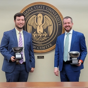 LSU Law students Connor McCain and Chad Thornton won the Fall 2021 Ira S. Flory Mock Trial championship on Thursday, Oct. 7.