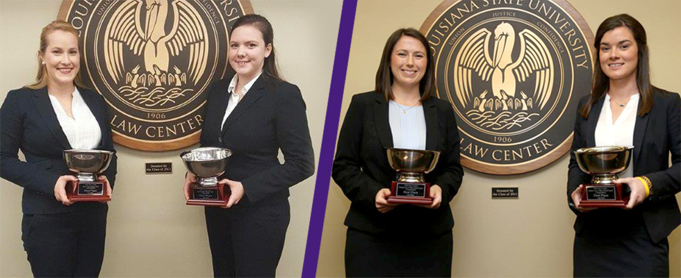Cline, Gonsoulin Win Flory Trial Competition; Kuebel, Nickel Win Tullis Moot Court Competition