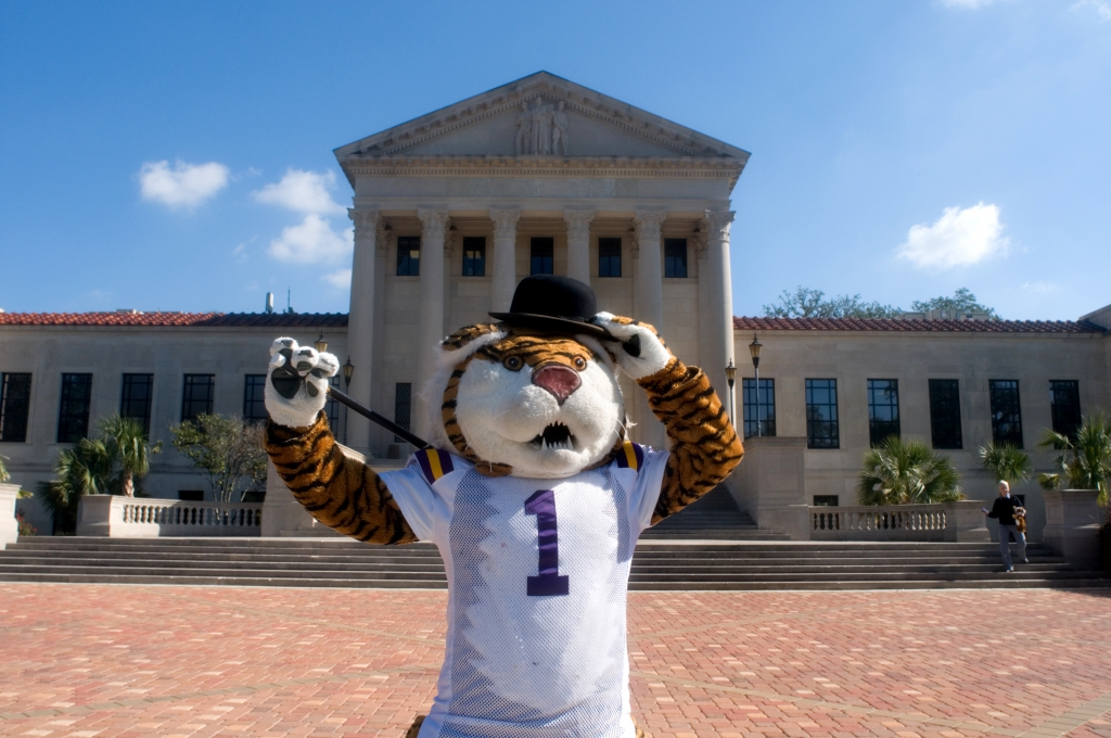 Mike the Tiger in front of Old Law Building
